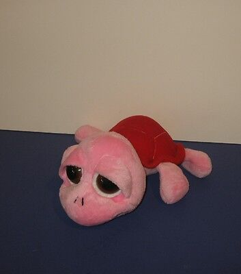 """Russ Lil Peepers 10"""" Squirtle Pink Turtle w/ Red Shell Bean Plush Animal"""