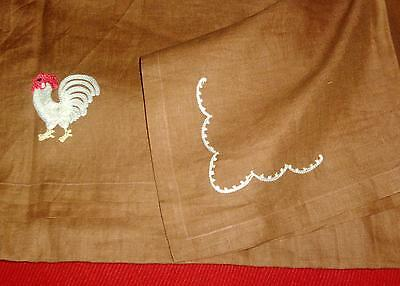 Fine Vintage Hand Embroidered Chicken Rooster Linen Table Cloth Tea Brown Ground