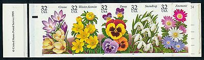 "#3029b  UNIQUE ""32¢ GARDEN FLOWERS"" IMPERF BOOKLET MAJOR ERROR (4) PANES WL2718"