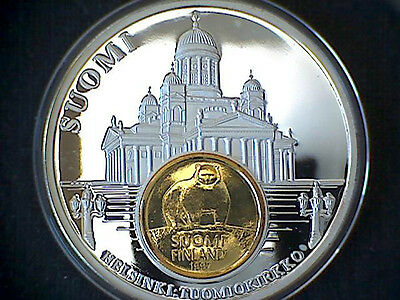 FINLAND COMMEMORATIVE MEDALION EUROPEAN CURRENCIES SERIES COIN INLAY (M.*b