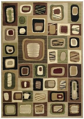 "ABSTRACT brown PATCHWORK 2x8 area rug SQUARES runner : Actual Size 2' 7"" x 7' 4"""