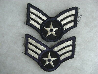 PAIR 1940/50s USAF EMBRD ON TWILL AIRMAN WITH 3 STRIPES LONG OBSOLETE RARE