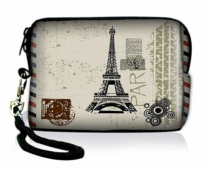 Paris Soft Neoprene Case Bag Pouch For Digital Camera Cell Phone Itouch Iphone 5