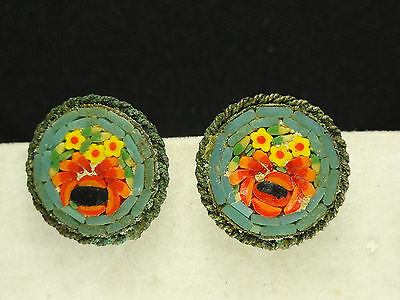 Antique  Italian Micro Mosaic Round Earrings  ~ 5/8""
