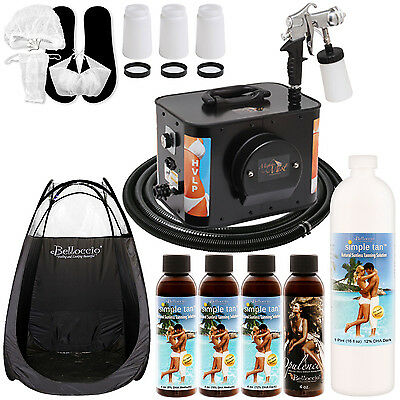 Apollo MIGHTY MIST Sunless Airbrush SPRAY TANNING SYSTEM Simple 12 Solution Tent