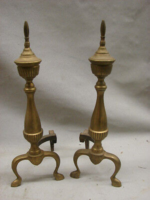 Nice Antique Pair of Traditional Spire Top on Baluster Brass Fireplace Andirons