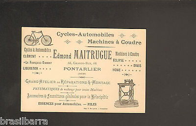 CARTE DE VISITE Edmond MAITRUGUE Pontarlier Doubs Vers 1910 Cycles Automobiles