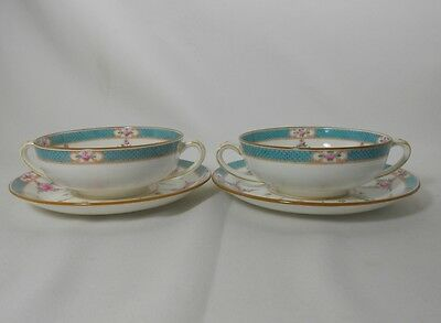 Minton Persian Rose-Older B838 Pair of Cream Soup Bowls and Saucers