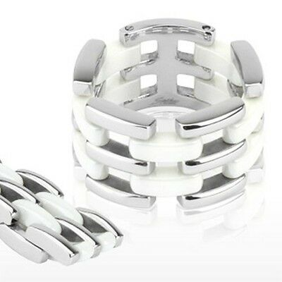 Stainless Steel & White Ceramic Flexible Link Ring 14mm Width Wedding Band R279