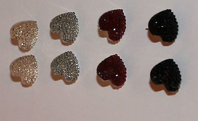 New Hot Heart Shape Crystal Black Silver Peach Red Earring 4 Colours