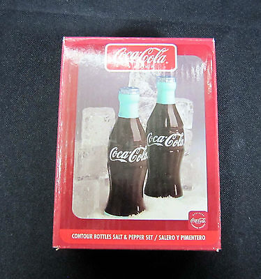NIP Coca-Cola Band Salt & Pepper Shaker Set Contour Bottles