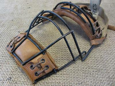 Vintage Metal Wire & Leather Baseball Catchers Mask > Antique Old Wilson 7819