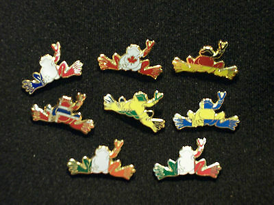 "New Peace Frogs 1"" 8 Piece National Flag Pins France Germany Norway Italy"