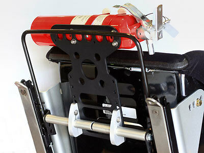 Rennline Seats Mounted With Side Brackets Fire Extinguisher Mount Black