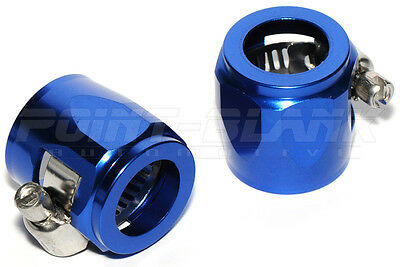 "Aluminium Hex Clamp / Hose End for 8mm or 5/16"" Rubber EFI Fuel Hose - Blue"