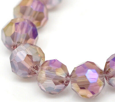 "15 Strands Purple AB Color Faceted Ball Glass Crystal Loose Beads 4mm(1/8"") Dia"