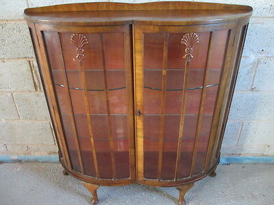 Double bow fronted Walnut 2 door display cabinet (ref 1156)