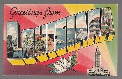 [36414] Old Postcard Large Letter Louisiana