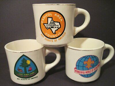VTG Boy Scouts of America Coffee Mugs Cups Camp Lost Pines Capital Area Council
