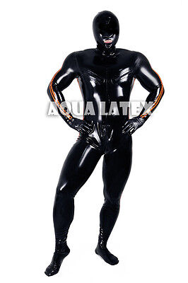 Man Tight Catsuit Latex Catsuit Rubber Bodysuit with stripes