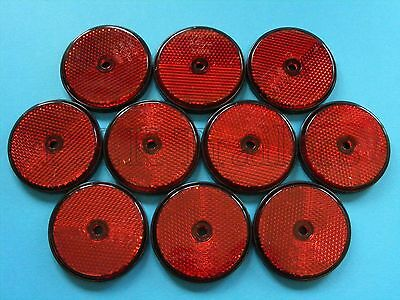 FREE P&P* 10 x RED 60mm Reflectors for Driveway Gate Fence Posts & Trailers