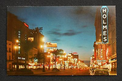 1950s Canal Street at Night Old Cars Neon Signs Stores New Orleans LA Orleans Co