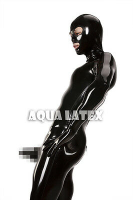 Fetish Sexy Man's Rubber Latex Catsuit Zentai with Mold Penis Sheath