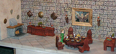 28mm Complete Painted Dining Chamber Furniture Set - Works with Dwarven Forge