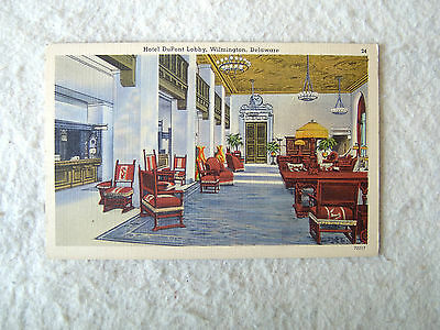 Hotel DuPont Lobby, Wilmington, Delaware. - MID 1900'S LINEN POST CARD