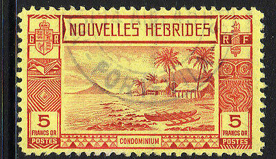 FRENCH NEW HEBS 1938 5f RED/ YELLOW SG F63 FINE USED.