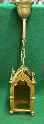 Antique Stained Glass Ceiling Light Fixture Gold Amber #1684-13