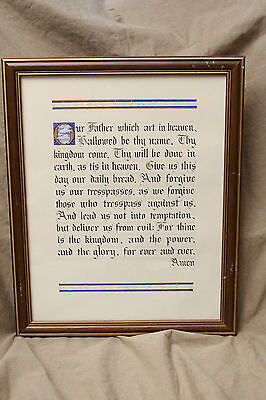 "Original hand lettered Calligraphy LORD'S PRAYER framed gold leaf 11x14"" ca 1985"