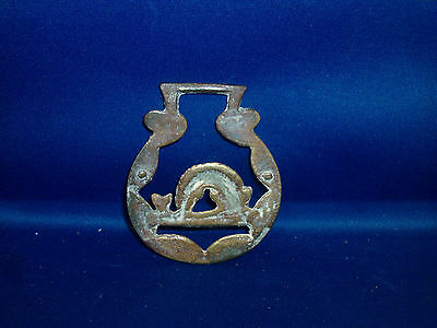 Antique 19th c. Brass Hand Cast Horse Bridle Medallion Dolphin Fish Badge 1880