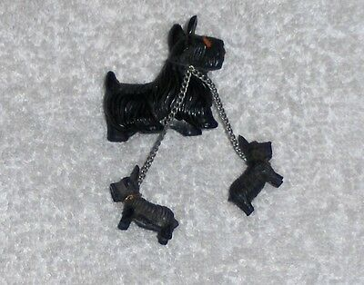 Vtg Miniature Scottish Terrier Mother Dog & 2 Puppies on Leash W/ Red Eyes Japan