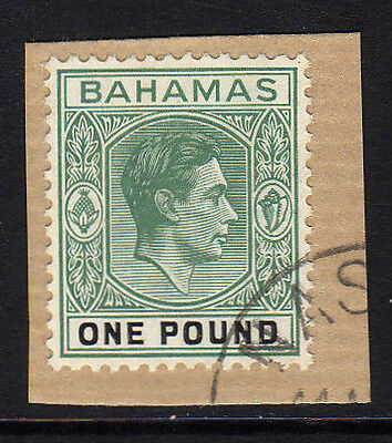 Bahamas 1938-52 £1 Deep Grey-Green & Black Sg 157 Fine Used.