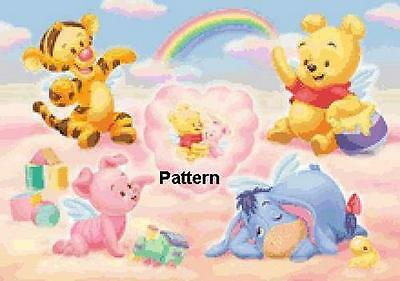 Baby Winnie the Pooh & friend. Cross Stitch Pattern. Paper Version or PDF Files.