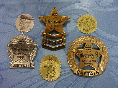 Dick Tracy Secret Service Patrol Badges -- Lot of 3 with original stickers VF/NM