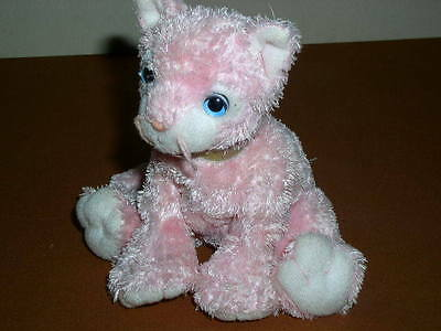 """Ty Beanie Baby CARNATION Pink Fluffy Cat With Blue Eyes, 9"""", 2002, w/o Tag!"""