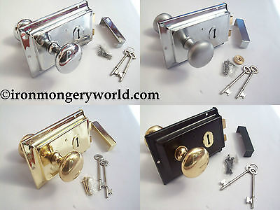 Traditional Old Victorian Style Rim Door Lock Knob Handle Set