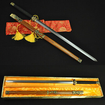 HIGH QUALITY HAND MADE CHINESE SWORD QIN JIAN (秦劍) FOLDED STEEL CLAY TEMPERED