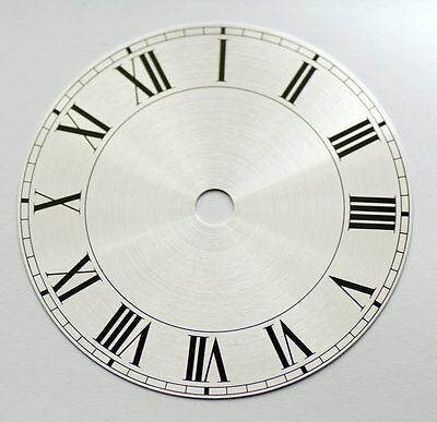 "Clock dial 203mm 8"" roman numerals on silver background new dials clocks repair"