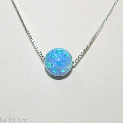 3 pcs 8mm Light BLUE OPAL BEADS & Sterling Silver 925 Fine BOX Chain Necklaces