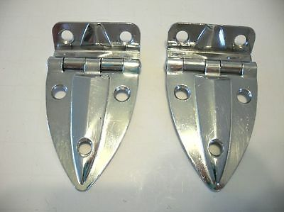 "VINTAGE AMEROCK Art Deco CHROME Cabinet Door Hinges 3/8"" offset Hoosier Boat • CAD $25.13"