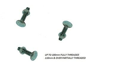 Square Hex Coach Bolts Domed Head With Nuts M6,M8,M10,M12 Various Sizes & Qty