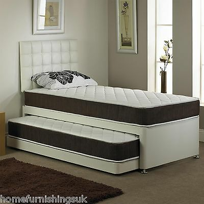 Hf4you Faux Leather Divan Guest Bed, 2 Mattresses,Headboard Optional, 3ft Single