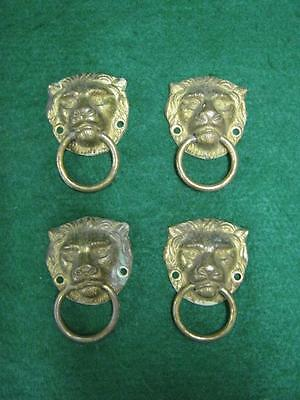 Set of 4 Vintage Brass Drawer Pulls Lion Head #1729-13