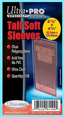100 ULTRA PRO TALL SOFT CARD Sleeves NEW 1 Pack Widevision Gameday 81194 3x5