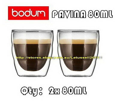 IN BOX BODUM PILATUS WAVE DOUBLE WALL CLEAR THERMO-GLASSES ESPRESSO CUPS x2 80ML