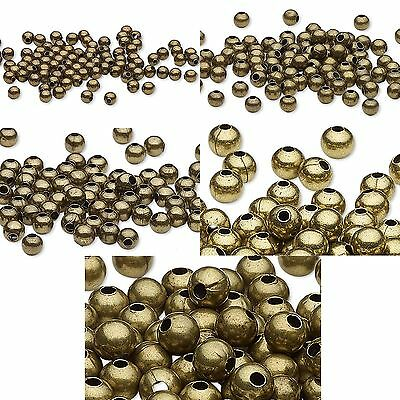 100 Antique Bronze Brass Steel Metal Round Spacer Accent Beads Small - Big