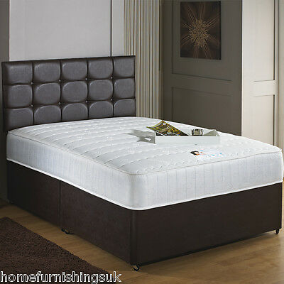 "New - Hf4you 11"" Orthopaedic Faux Leather Divan Bed, Single,Double,King,S King"